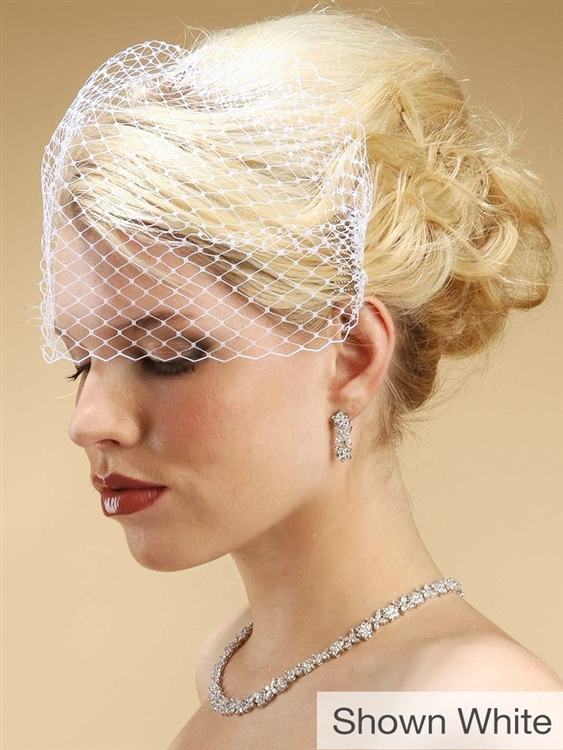 Black French Netting Birdcage Visor Veil<br>726FV-JE