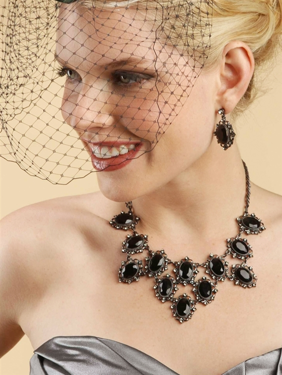 French Netting Birdcage Face Veil - Black<br>730FV-JE
