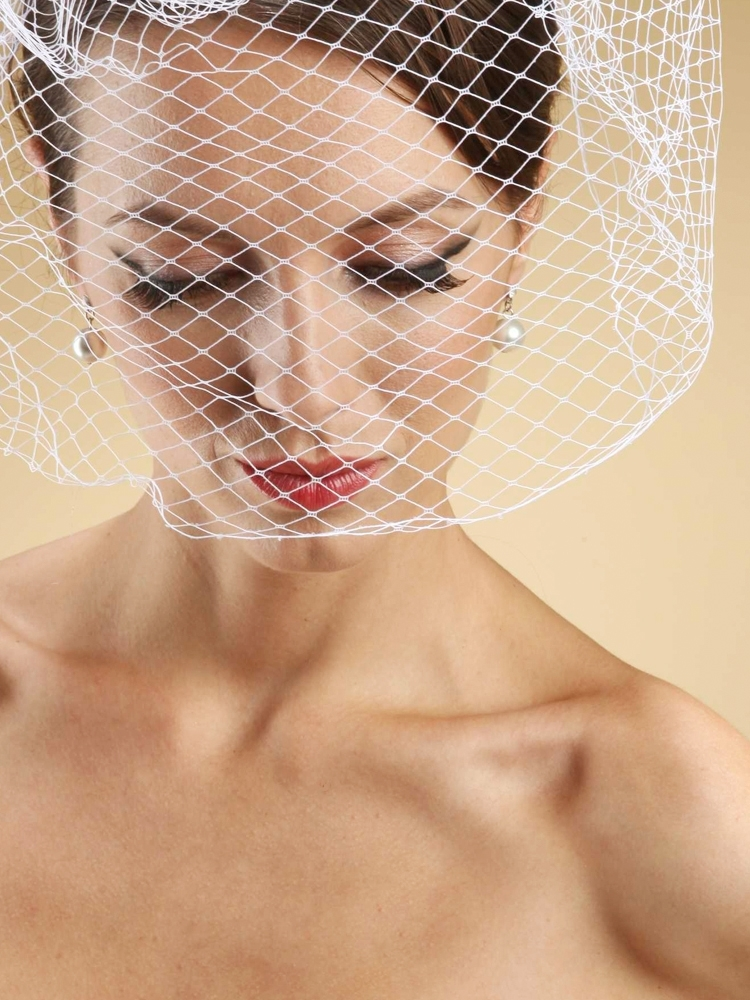 French Net Birdcage Blusher Face Veil - Ivory<br>730FV-I