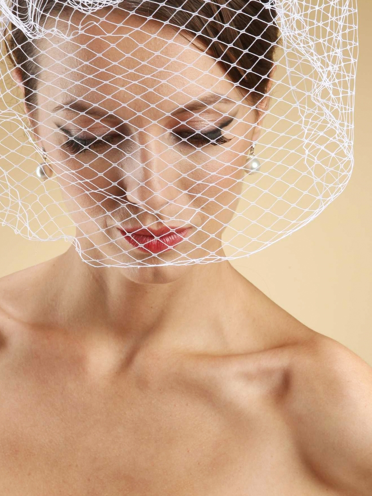 French Net Birdcage Blusher Face Veil - White<br>730FV-W