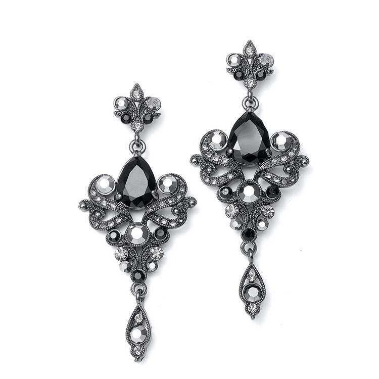 Art Nouveau Cubic Zirconia Wholesale Earrings<br>741E-JE