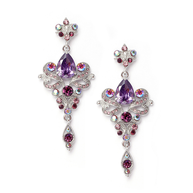 Art Nouveau Violet Cubic Zirconia Bridesmaids or Prom Earrings<br>741E-VI