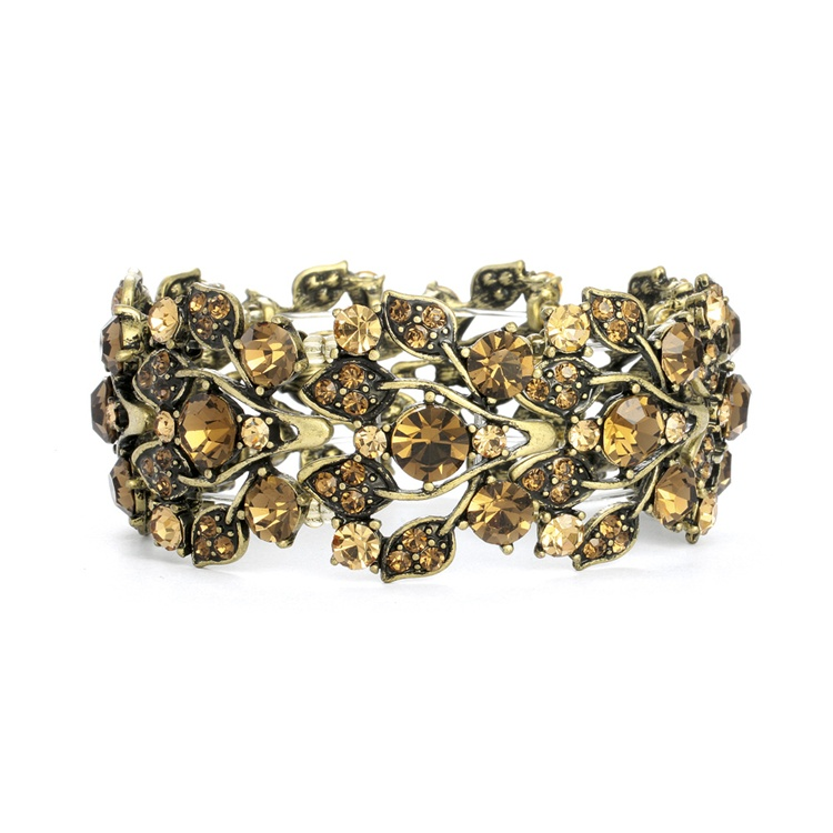 Bold Brown Crystal Vine Stretch Bracelet<br>750B-ST