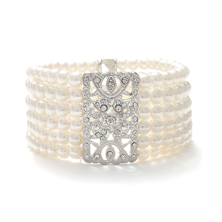 Wholesale Ivory Pearl Vintage Bridal Stretch Bracelet