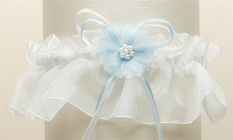 Organza Bridal Garters with Baby Pearl Cluster - Ivory with Blue<br>819G-BL-I