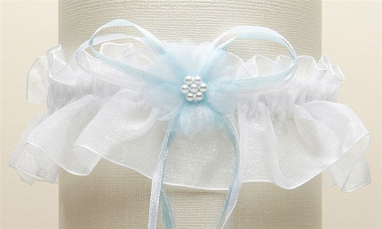 Organza Bridal Garters with Baby Pearl Cluster - White with Blue<br>819G-BL-W