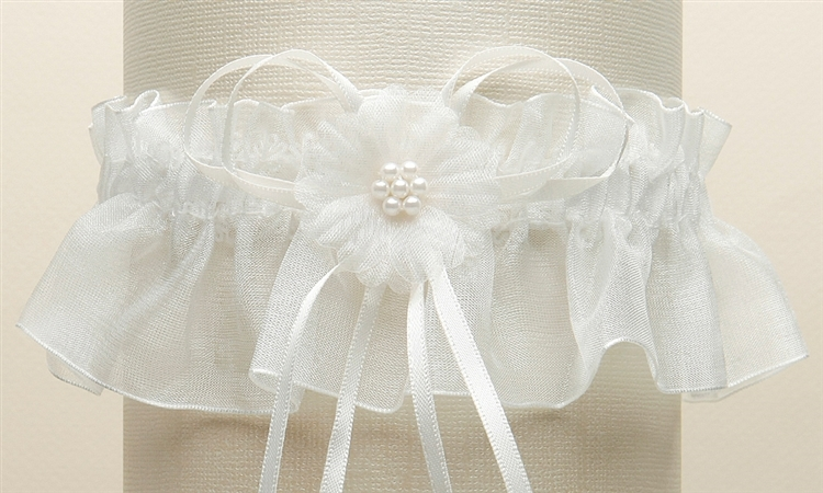 Organza Bridal Garters with Baby Pearl Cluster - Ivory<br>819G-I-I