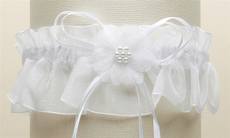 Organza Bridal Garters with Baby Pearl Cluster - White<br>819G-W-W