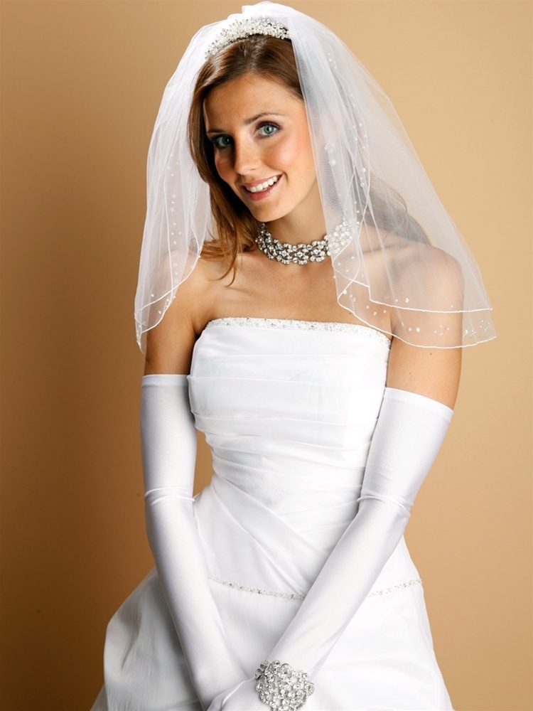 Opera Length Wedding or Prom Gloves - Shiny Satin - Diamond White<br>824GL-2-DW