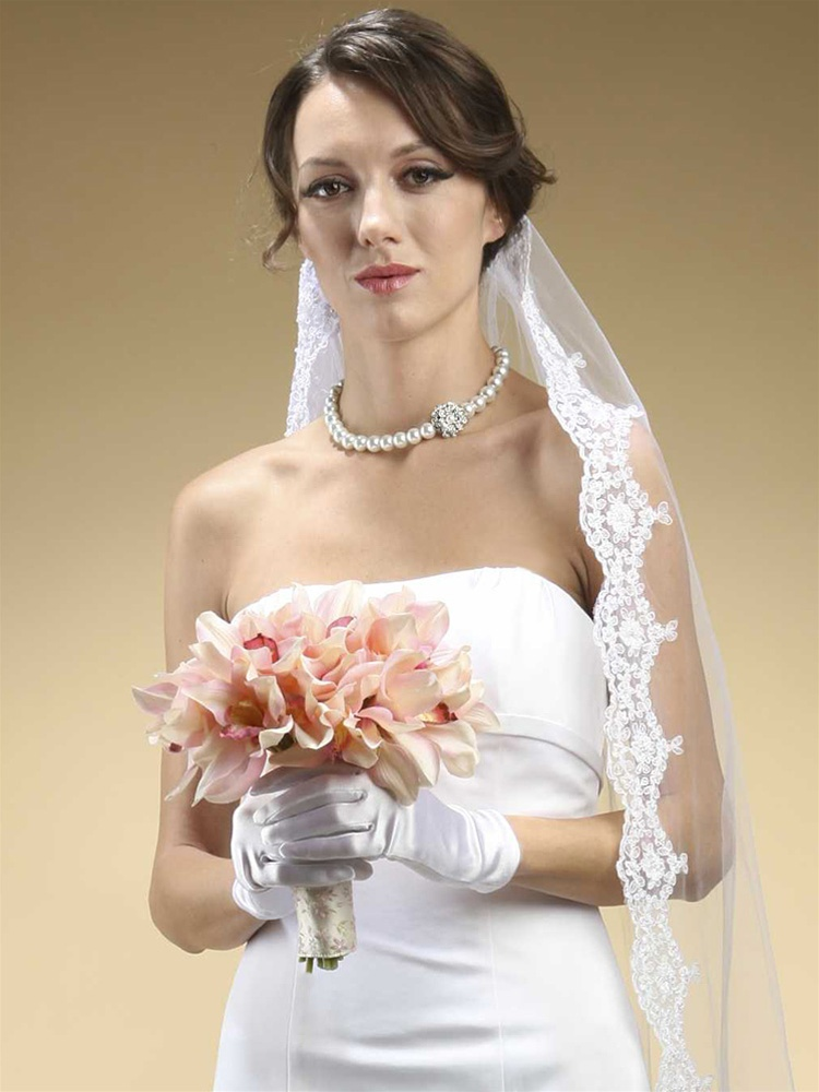 Adult Wrist Wedding Gloves in Shiny Satin<br>825GL-2