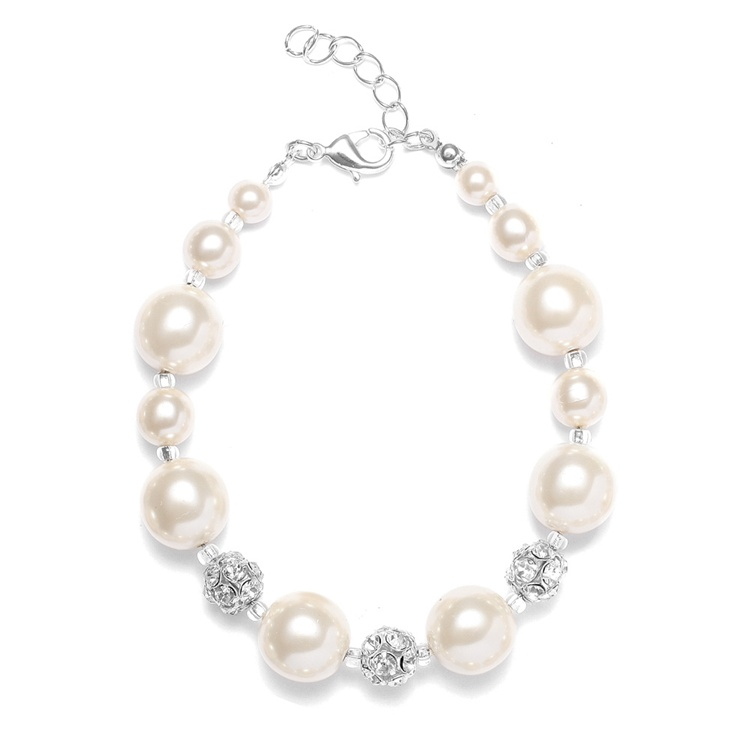 Pearl Wedding Bracelet with Rhinestone Fireballs - White<br>878B-W-W-S