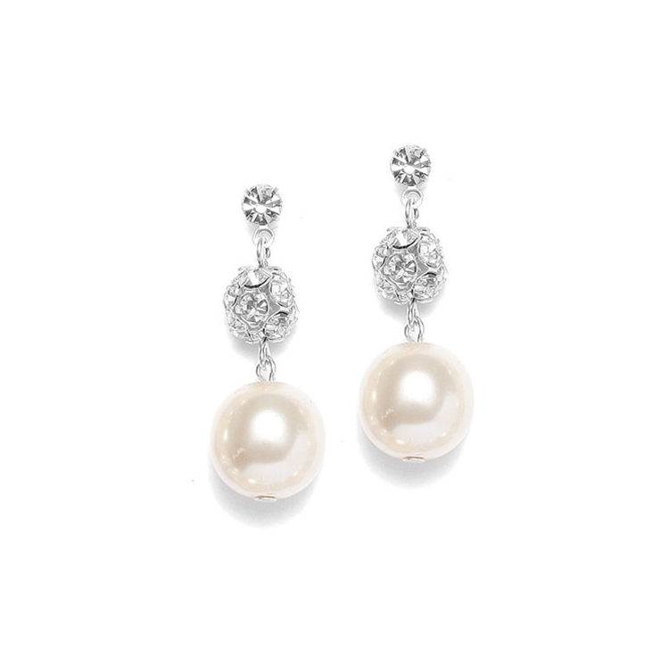 Pearl Wedding Earrings with Rhinestone Fireballs<br>878E