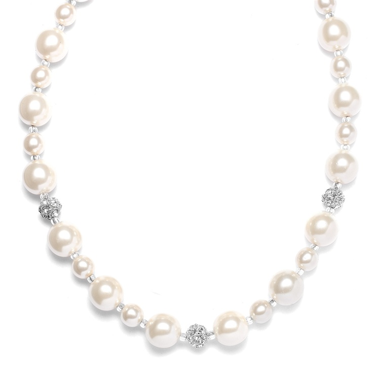 Pearl Wedding Necklace with Rhinestone Fireballs<br>878N
