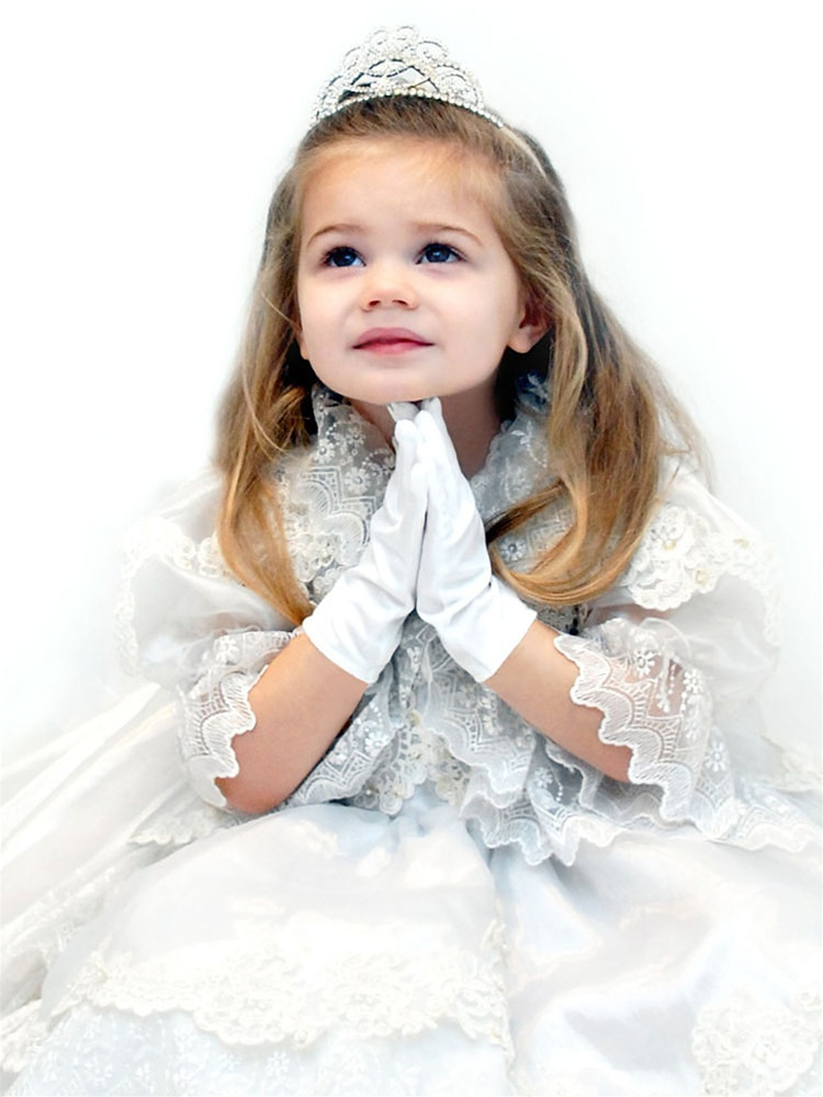 Children's Satin Wrist Gloves - Ivory - 3-6<br>881GL-3-W