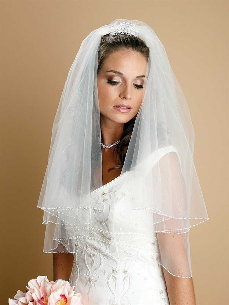 Two Tier Circular Cut Ivory Veil with Seeds & Bugle Bead Edging<br>885V-I