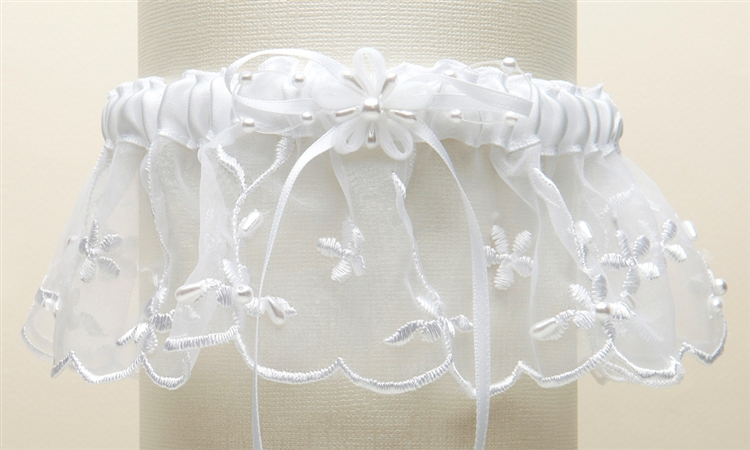 Embroidered Wedding Garters with Rice Pearl Accents - White<br>886G-W-W