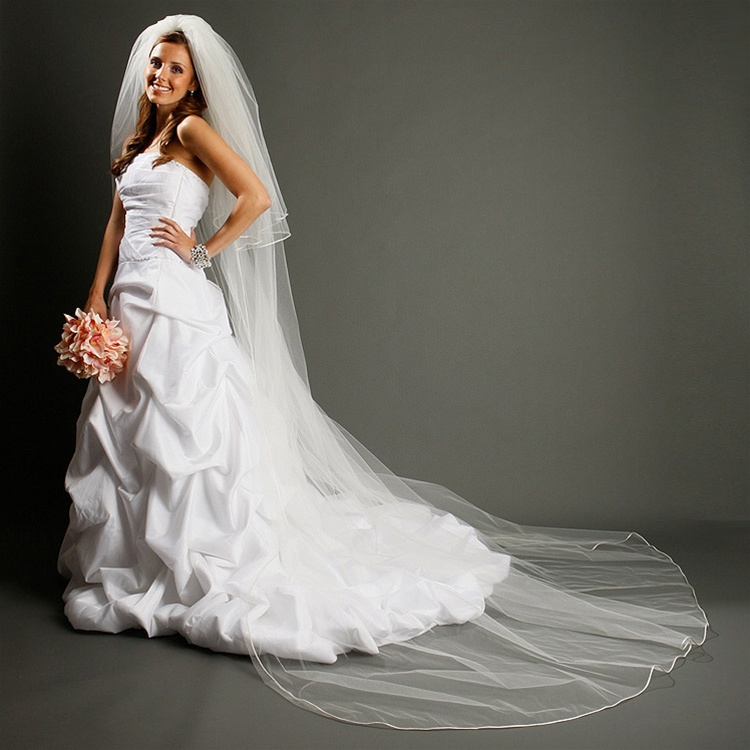 17344b6f62758 Cathedral Length Bridal Veil with Rounded Satin Corded Edge br 899V
