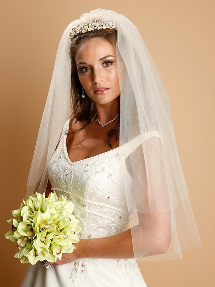 Two Layer Cut Edge Elbow or Waist Bridal Veil - White<br>928V-25-W