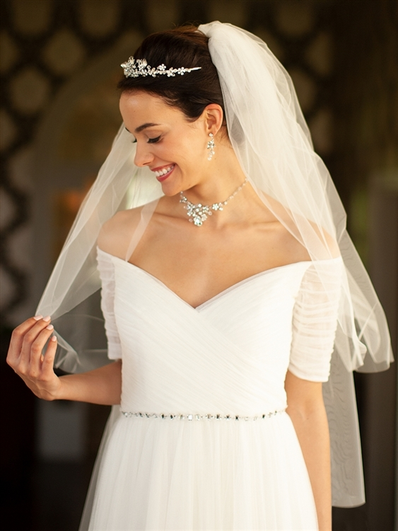 "Two Layer Cut Edge Bridal Veil - Ivory - 30""/36""<br>928V-30-I"