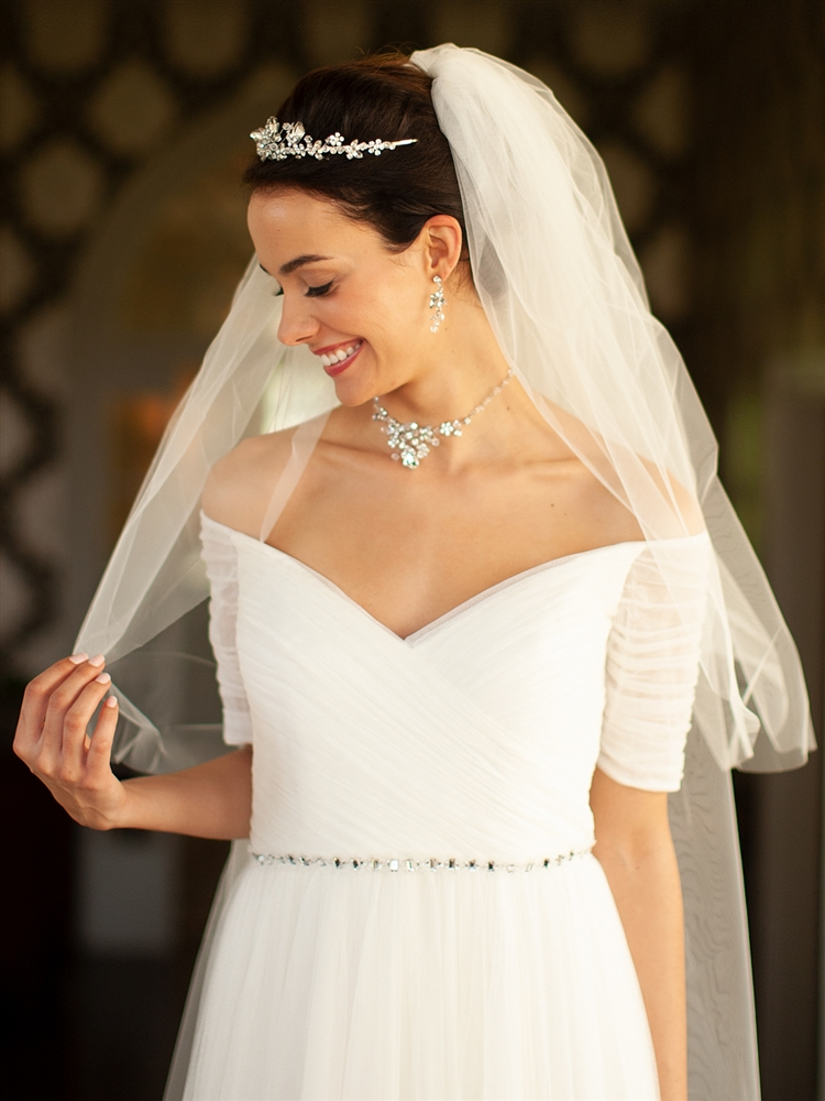 "Two Layer Cut Edge Bridal Veil - Ivory - 30""/42""<br>928V-42-I"