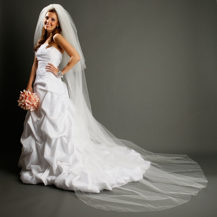 Two Layer Dramatic Cathedral Length Cut Edge Wedding Veil<br>933V