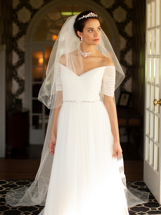 Two Layer Dramatic Cathedral Length Cut Edge Wedding Veil - Ivory<br>933V-I