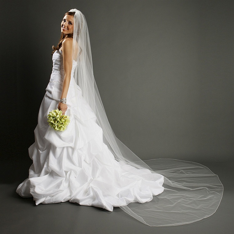 One Layer Dramatic Cathedral Length Wedding Veil with Pencil Edging - White<br>939V-W
