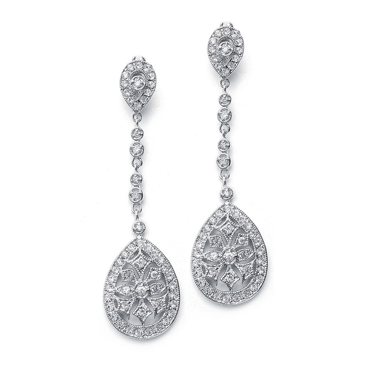 Graceful Faux Marcasite Dangle Earrings<br>E017