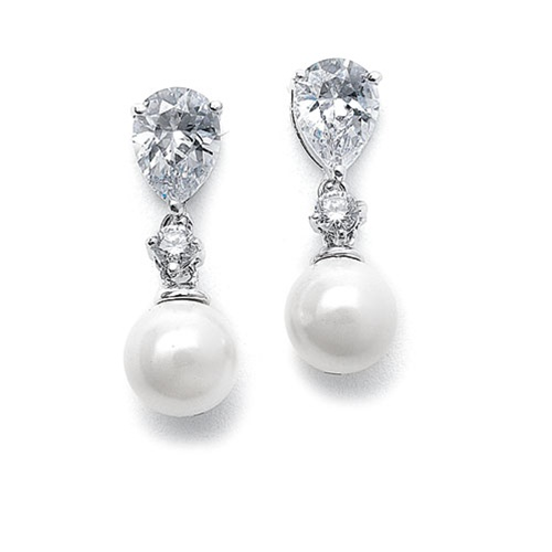 Pearl Wedding Earrings with CZ Pears<br>E061