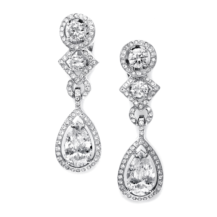 CZ Clip-On Wedding Earrings with Pear Dangle<br>EC037
