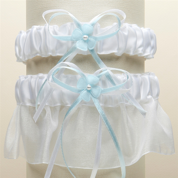 Sleek Satin and Organza 2 Pc. Bridal Garter Set - White with Blue<br>G016-BL-W