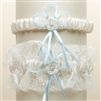 Vintage Wedding Garter Set with Floral Embroidered Tulle - Ivory with Blue<br>G018-BL-I