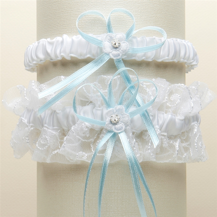 Vintage Wedding Garter Set with Floral Embroidered Tulle - White with Blue<br>G018-BL-W