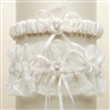 Vintage Wedding Garter Set with Floral Embroidered Tulle - Ivory<br>G018-I-I