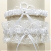 Vintage Wedding Garter Set with Floral Embroidered Tulle - White<br>G018-W-W