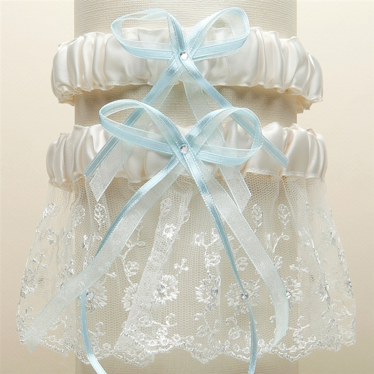 Embroidered Wedding Garter Sets with Scattered Crystals - Ivory with Blue<br>G021-BL-I