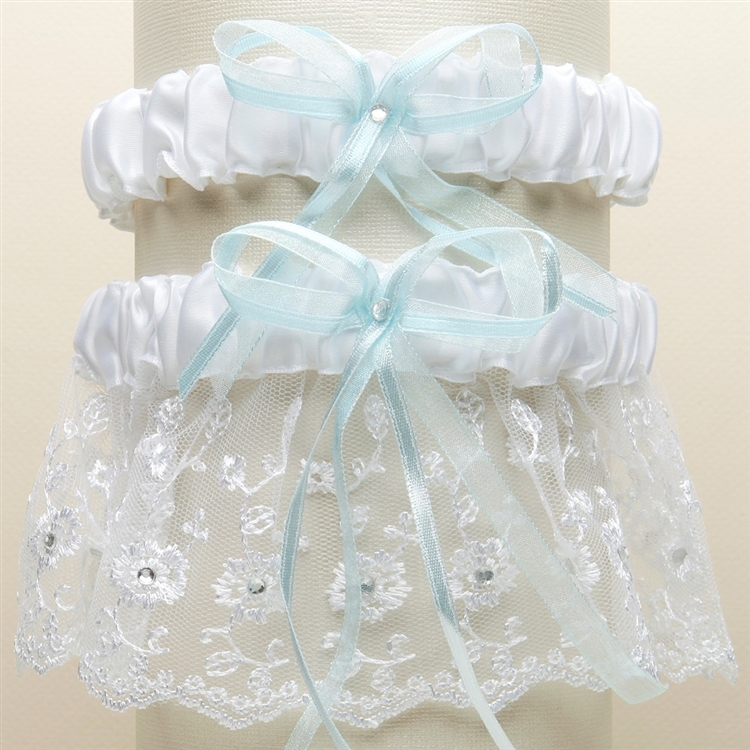 Embroidered Wedding Garter Sets with Scattered Crystals - White with Blue<br>G021-BL-W