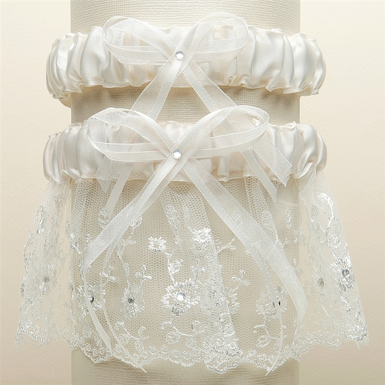 Embroidered Wedding Garter Sets with Scattered Crystals - Ivory<br>G021-I-I