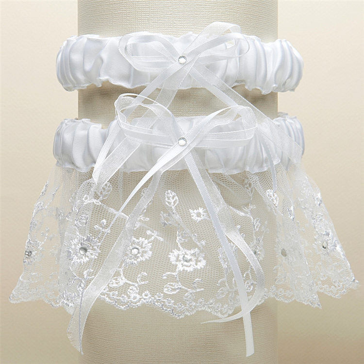 Embroidered Wedding Garter Sets with Scattered Crystals - White<br>G021-W-W