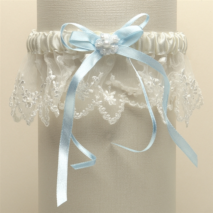 Vintage Irish Lace Inspired Wedding Garter - Ivory with Blue<br>G029-BL-I