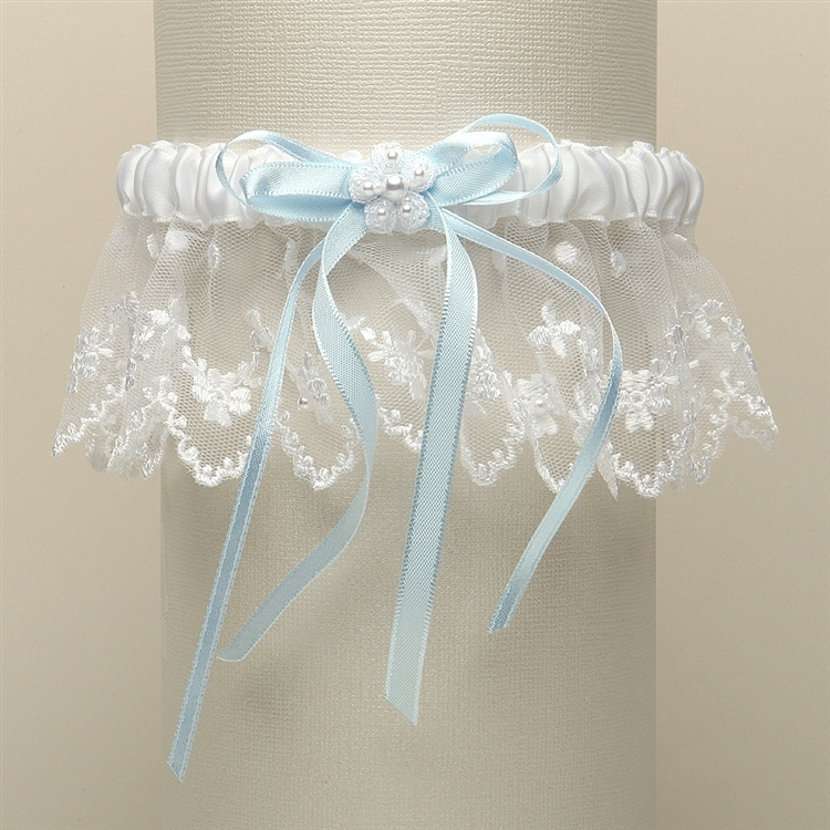 Vintage Irish Lace Inspired Wedding Garter - White with Blue<br>G029-BL-W