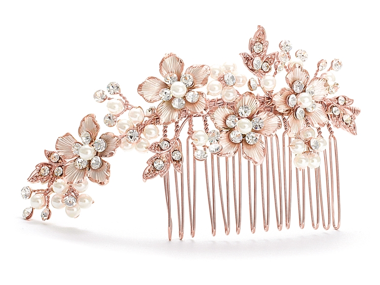 Brushed Rose Gold and Ivory Pearl Wedding Comb<br>H001-RG