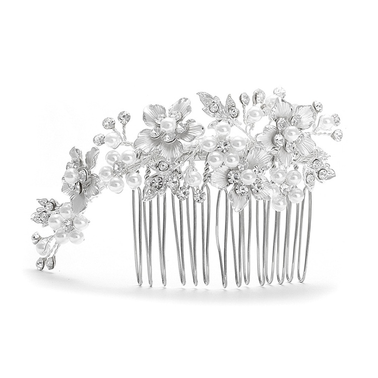 Brushed Silver and White Pearl Wedding Comb<br>H001-W-S