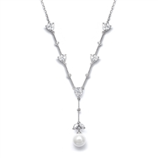 CZ Trillion and White Pearl Bridal Necklace<br>N080