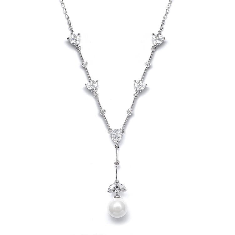 "CZ Trillions ""Y"" Necklace with Pearl<br>N080"