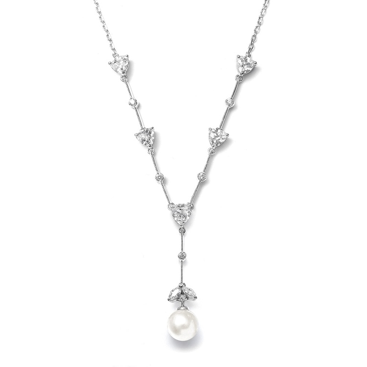 CZ Trillion and Ivory Pearl Bridal Necklace<br>N080-I-S