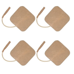 "2""X2"" SQUARE TAN CLOTH ELECTRODES PACK OF 4"