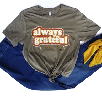 Always Grateful & Blessed t shirt. Southern boutique wholesale graphic tee clothing by Pink Armadillos. Printed on our super soft Bella Canvas tees.
