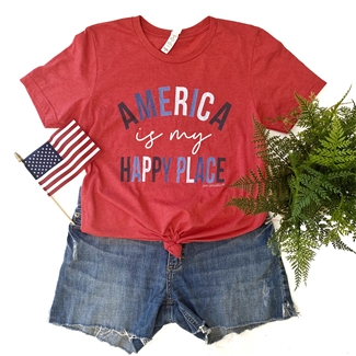 America Is My Happy Place boutique wholesale graphic tee by Pink Armadillos