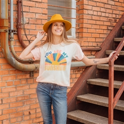 You Are My Sunshine T shirt Southern boutique wholesale graphic tee clothing by Pink Armadillos. Printed on our super soft Bella Canvas tees.